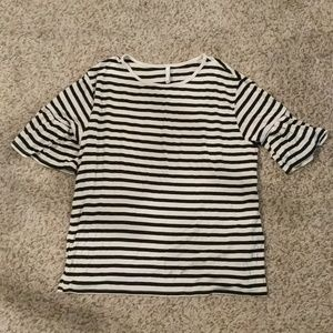 Z Supply Tops - Z Supply Ruffle Sleeve Stripe Tee